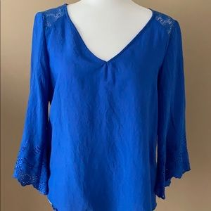 Eyelet and Lace Blue Top